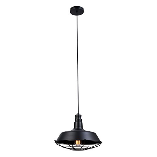 - Globe Electric 65812 Damon 1 Light Pendant, Matte Black with Cage Shade