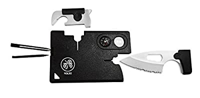 10 in 1 Multitool by MKRI|Credit Card Folding Pocket Knife Tool|Ultimate Survival Military UtilityKit|Lightweight Case Holder|Wallet Emergency Safety Set for Camping, Hiking, Scouts from MKRI