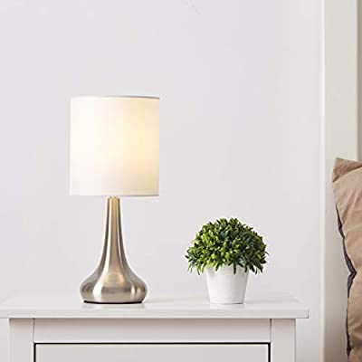 "FERWVEW Modern Small Table Lamp, Bedside Desk lamp with White Fabric Shade, Nightstand Table Lamps for Living Room Bedroom Study Room - Simple and concise style in a brush nickle lamp base with white fabric shade, the small table lamp gives off a romantic and warm atmosphere anywhere in your home decor. Wonderful gifts for the coming Thanksgiving Day to your friends, relatives or business partners. Dimension: 5.9"" D x 13.4"" H. Bulb: Each lamp takes AC 110V-120V, 60 Wattage Max. E26 socket, compatible with CFL, LED, Incandescent Bulbs (Bulbs Not Included). UL Listed. Comes with all mounting hardware and instruction for easy installation. - lamps, bedroom-decor, bedroom - 31kBjjdzrAL. SS400  -"