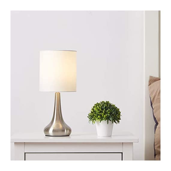 """FERWVEW Modern Small Table Lamp, Bedside Desk lamp with White Fabric Shade, Nightstand Table Lamps for Living Room Bedroom Study Room - Simple and concise style in a brush nickle lamp base with white fabric shade, the small table lamp gives off a romantic and warm atmosphere anywhere in your home decor. Wonderful gifts for the coming Thanksgiving Day to your friends, relatives or business partners. Dimension: 5.9"""" D x 13.4"""" H. Bulb: Each lamp takes AC 110V-120V, 60 Wattage Max. E26 socket, compatible with CFL, LED, Incandescent Bulbs (Bulbs Not Included). UL Listed. Comes with all mounting hardware and instruction for easy installation. - lamps, bedroom-decor, bedroom - 31kBjjdzrAL. SS570  -"""