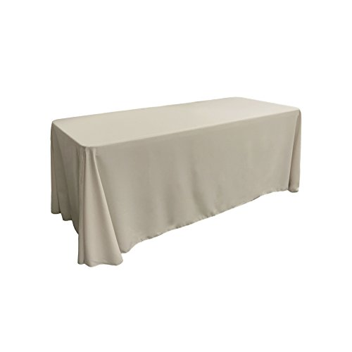 "LA Linen Polyester Poplin Rectangular Tablecloth, 90"" x 132"", Light Grey from LA Linen"