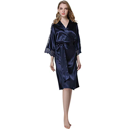 Big Sale YetouWomen's Lingerie Sexy Pajamas Underwear Temptation Lace Nightdress Sleepdress Robe Bathrobe Navy