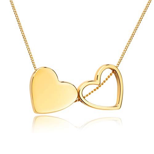 Girafe 14k Real Gold Plated Double Floating Heart Necklaces for Women, Premium Love Jewelry Gift for Girlfriend Wife Mother Daughter, Birthday and Anniversary Present for her, 14+3 inches