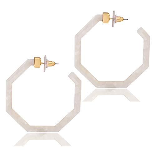 PHALIN Acrylic Hoop Earrings Tortoiseshell Acrylic Earrings Geometric Resin Earring Studs for Women Girls (E White 1)