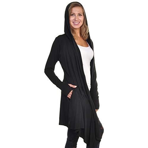 Angelina Women's Soft Lightweight Modal Multi-Way Hooded Cardigan with Pockets & Thumb Holes, MCAR_XL-2X Black