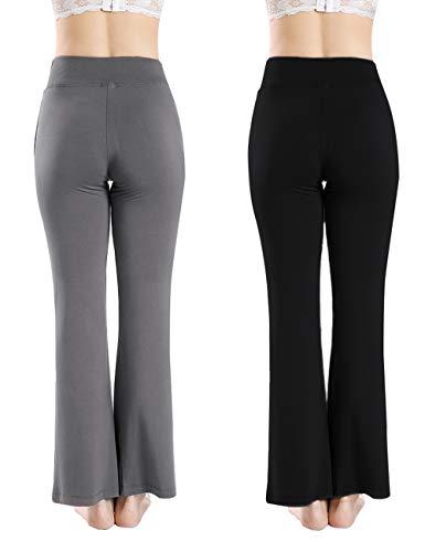 68cd71c6181dd7 NUNU in LA Womens & Plus Foldover Stretch Waist Bootleg Cotton Workout Yoga  Pants Activewear Pants