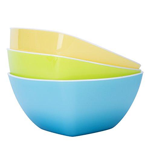 Plastic Bowls,Wecye BPA Free Kicthen Fruit Bowl,Salad Bowl,Mixing Bowls,Cereal Bowls,Candy Dish,Set of 3 (Small) Summer Fruit Bowl