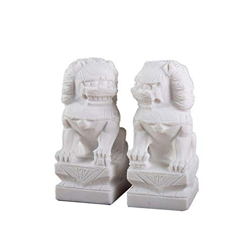 (A Pair of Stone Beijing Lions Pair Fu Foo Dogs Statues,White Guardian,Chinese Feng Shui Decor,for Home and Office, Attract Wealth and Good Luck,Best Gift,Medium)