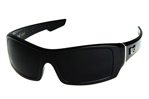 Locs Men's Rectangular Hardcore Black Wrap 63mm Sunglasses (Cursive Logo)