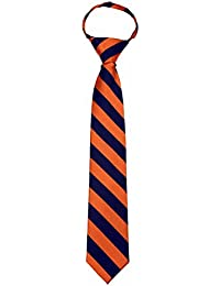 B-ZIP-JCS-ADF-1-10 - Boys Zipper Repp Stripe College Printed Necktie Ties