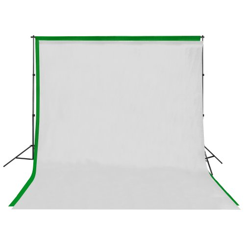 (5081 Square Perfect Background Stand with 6 x 9 White & Green Screen Muslin Backdrops)