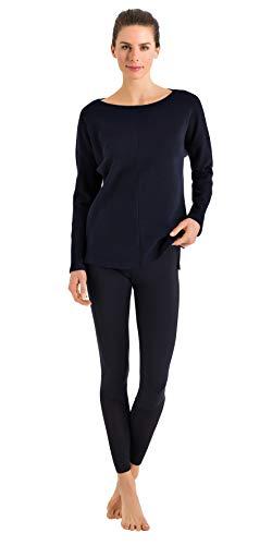 HANRO Women's Pure Comfort Long Sleeve Shirt, Navy, Small ()
