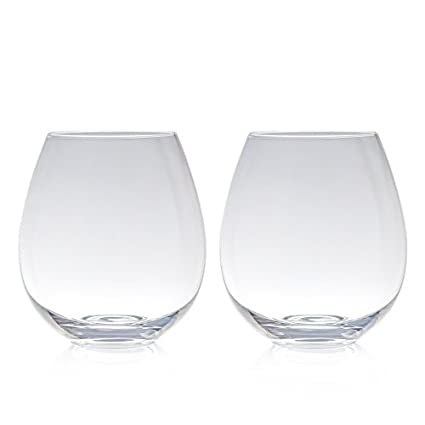 c2a7347b914 Amazon.com | Big Betty - Clear Stemless XL Premium Jumbo Wine Glass Set -  Includes 2 Glasses - each Holds a Whole Bottle of Wine: Wine Glasses