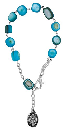Vatican Imports Catholic One Decade Rosary Bracelet with Natural Stone Beads (Sky Blue)