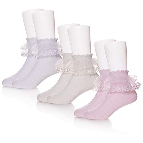 (DOSONI 3/4/5 Pack Baby Toddler Girls Princess Frilly Socks Lace Ruffle Mesh Ankle Cotton Socks For 1-12T (8-12 Year Old, 3 Pack White/Yellow/Pink))