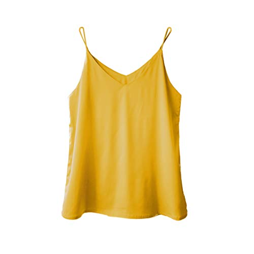 (Wantschun Womens Silk Satin Camisole Cami Plain Strappy Vest Top T-Shirt Blouse Tank Shirt V-Neck Spaghetti Strap US Size XL;Yellow)