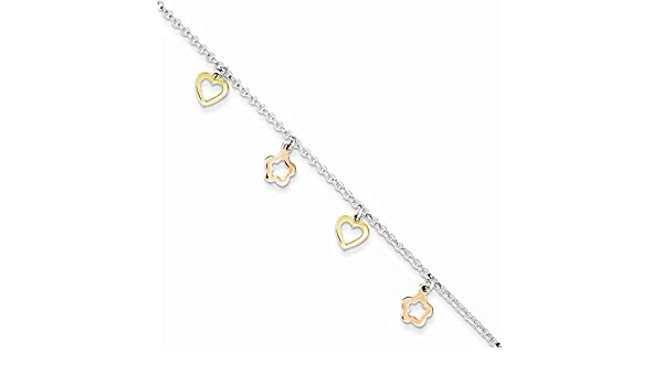 Anklet Jewelry Best Seller Sterling Silver Polished Gold /& Rose-tone Heart Flower w// 1in ext