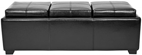 Safavieh Hudson Collection Gramercy Black Leather Triple Tray Ottoman