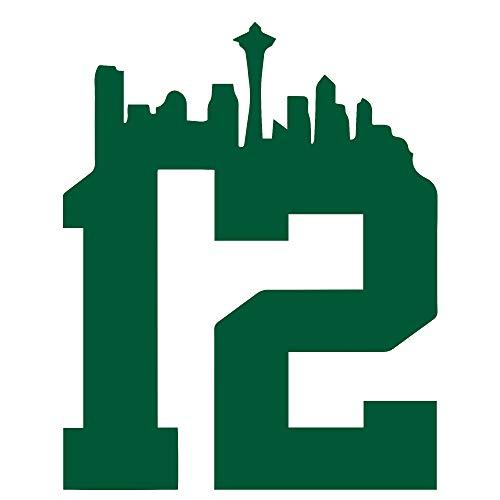 (Seattl Sea Haw 12 Man NFL Seattle Seahawks 12th Man (GREEN) (set of 2) Premium Waterproof Vinyl Decal Stickers for Laptop Phone Accessory Helmet Car Window Bumper Mug Tuber Cup Door Wall Decoration)