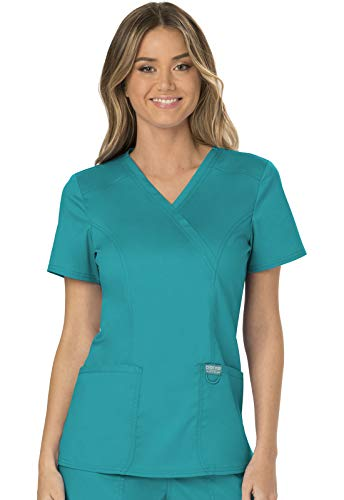 CHEROKEE Workwear Revolution Mock Wrap Scrub Top