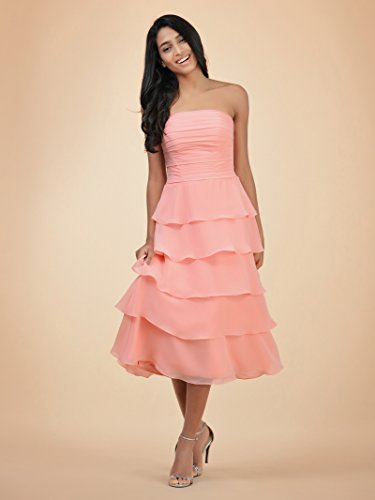 Gown Tea Length Prom Party Alicepub Chiffon A Strapless Evening Line Bridesmaid Lilac Dress OqTHxpgz