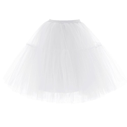 Beiqian Women A Line Tutu Skirt 5-Layer Tulle Petticoat Halloween Underskirt Slip (White) -