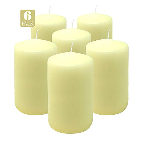 Hyoola Ivory Pillar Candles 3x5 Inch - Unscented Pillar Candles - 6-Pack - European Made (The Three Pillars Of The European Union)
