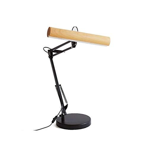 19-Yiruculture Table lamp Bedroom Headboard Lamp Living Room Interior Lighting Wooden Retractable Industrial Table Lamp (Color : Beech)