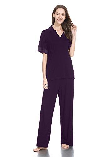 (lantisan Modal Cotton Pajamas for Women, Short Sleeve Shirt Lightweight Loose V-Neck PJ Set)