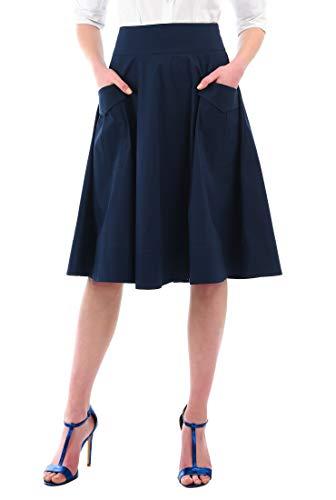 eShakti Women's Cargo Pocket Cotton poplin Skirt 5X-32W Short Deep -