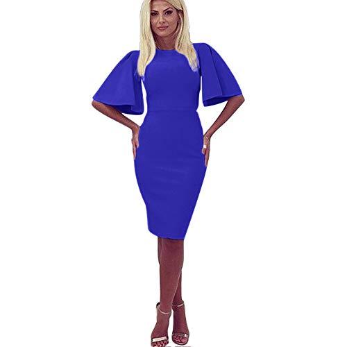Zshujun 1950's Women's Vintage Stretchy Work Casual Bodycon Sheath Pencil Dress 1189 (Blue, M)