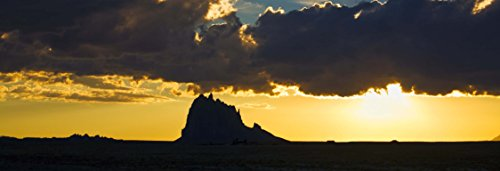 "Sunset Signed (Shiprock and Sunset, New Mexico, panoramic print landscape photo nature photography wall art home office decor sizes up to 13x38"" fine art print signed by the artist.)"