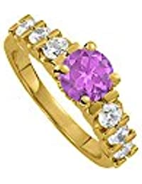 February Birthstone Amethyst and CZ Ring 1.50 TGW