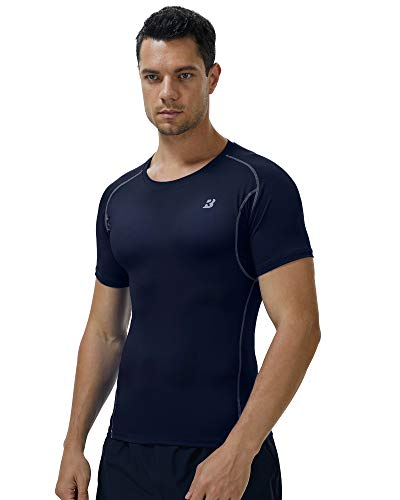Roadbox Compression Shirts for Men 3 Pack Underarm Mesh Workout Gym Athletic Under Base Layer Sports Shirts