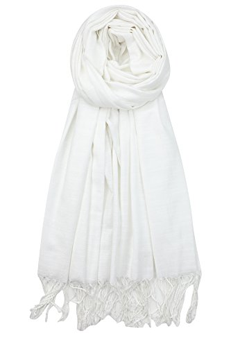 Achillea Bamboo Rayon Feel Soft Silky Pashmina Solid Shawl Wrap Scarf for Women (White)