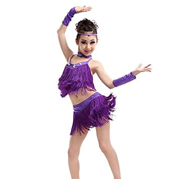 32682565c WUDAOFU Latin Dance Outfits Children s Performance Spandex Polyester ...
