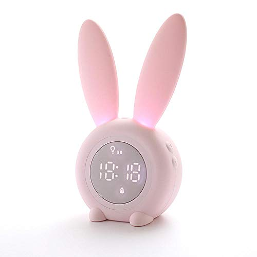 Teepao Cute Rabbit Bunny Wake Up Light Alarm Clock,Digital Night Light Clock Bedside Table Decoration with 6 Music Sounds,Touch Control,Countdown,5-Level Adjustable Sound for Kids and Adult (Clock Rabbit)