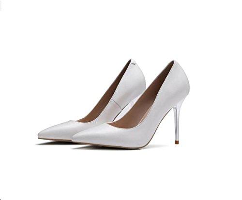 tacchi Da con Calzature punta alti scarpe tragitto e Alla Moda Donna singolo leggero 8cm il sottile nero AJUNR 37 Sandali gwXq5x5T