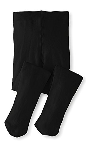 Monvecle Toddler to Big Girls' Opaque Microfiber Dance Stockings Kids School Uniform Footed Tights Black 8-10 -