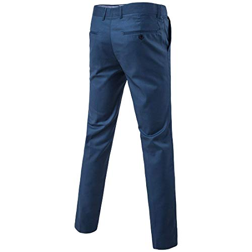 Freizeithose Meeresblau Vordere Slim Anzughose Hose Arbeits Flache Clásico Herren Oficina Regular Fit Chinohose Formal Chicos Businesshose Sich watOqvU