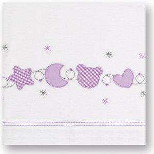 S/ábanas punto cuna 60 x 120 Pirulos 68303621 color blanco y lila