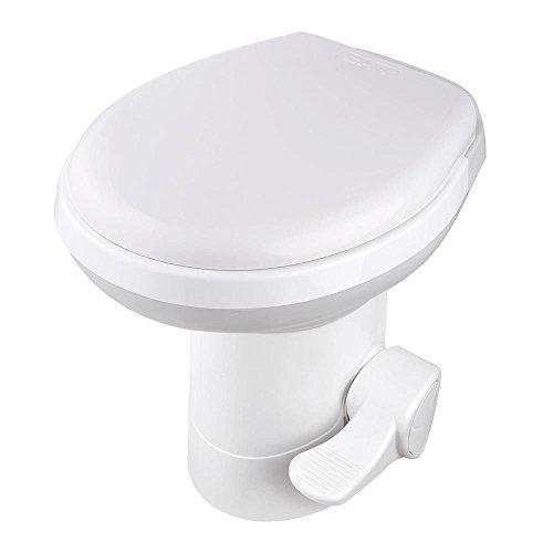 VINGLI RV Toilet, 20-Inch Standard Height, Gravity Flush and Single Foot Pedal, for Motorhome Caravan Travel, White, HDPE