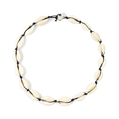 ZLY Natural Pearl Shell Choker Necklace for Womens, Handmade Boho Hawaii Sea Bead Cowrie Shell Choker Jewelry Adjustable for Girls (Pearl 04) ()