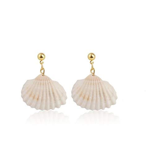 Fashion Design Shell Metal Gold Geometric Earrings Irregular Circle Square Freshwater Pearl Natural Drop Earrings for Women Girl,L