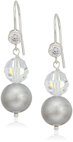 Crystals by Swarovski and Dyed Gray Cultured Freshwater Pearl Snowman Clip-On Earrings