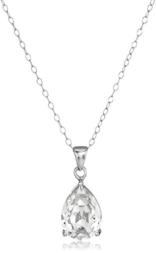 Sterling Silver Swarovski Crystal Clear Teardrop Pendant Necklace, -