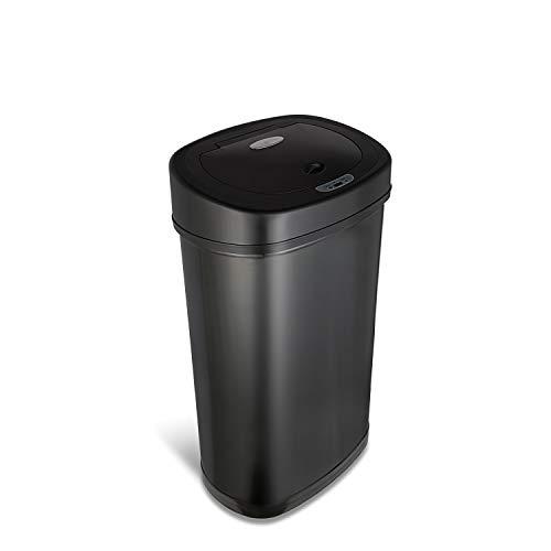 Nine Stars DZT-50-9BK Stainless Steel Motion Sensor Trash Can, 13.2 Gallon, Black