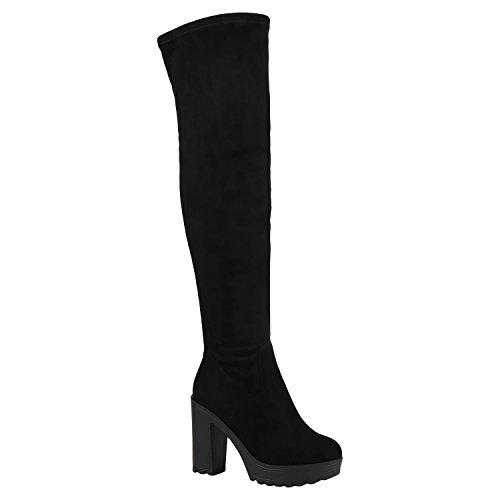 Stiefelparadies Damen Stiefel Overknees Leicht Gefütterte Langschaftstiefel Schuhe Flandell Schwarz Schwarz