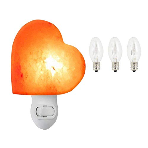 UNILAMP Natural Himalayan Salt Lamp, Hand Carved Rock Crystal Lamp, Romantic Heart Shaped Wall Night Light Bulbs with UL Listed Plug for Lighting and Decoration