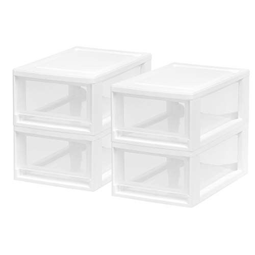IRIS USA, Inc. MSD-1 Compact Stacking Drawer, White, 6 Quart, 4-Pack,